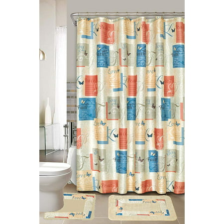 Love, Faith, Joy, and Peace 15 Piece Bathroom Set Bath Rugs, Shower Curtains, and Rings, Beige, Yellow, Orange, and Blue