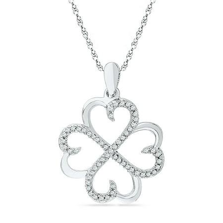 Diamond Heart Clover Pendant 10k White Gold Love Good Luck Charm Four Hearts Style Fashion 1/5 Cttw 10k Gold Heart Charm