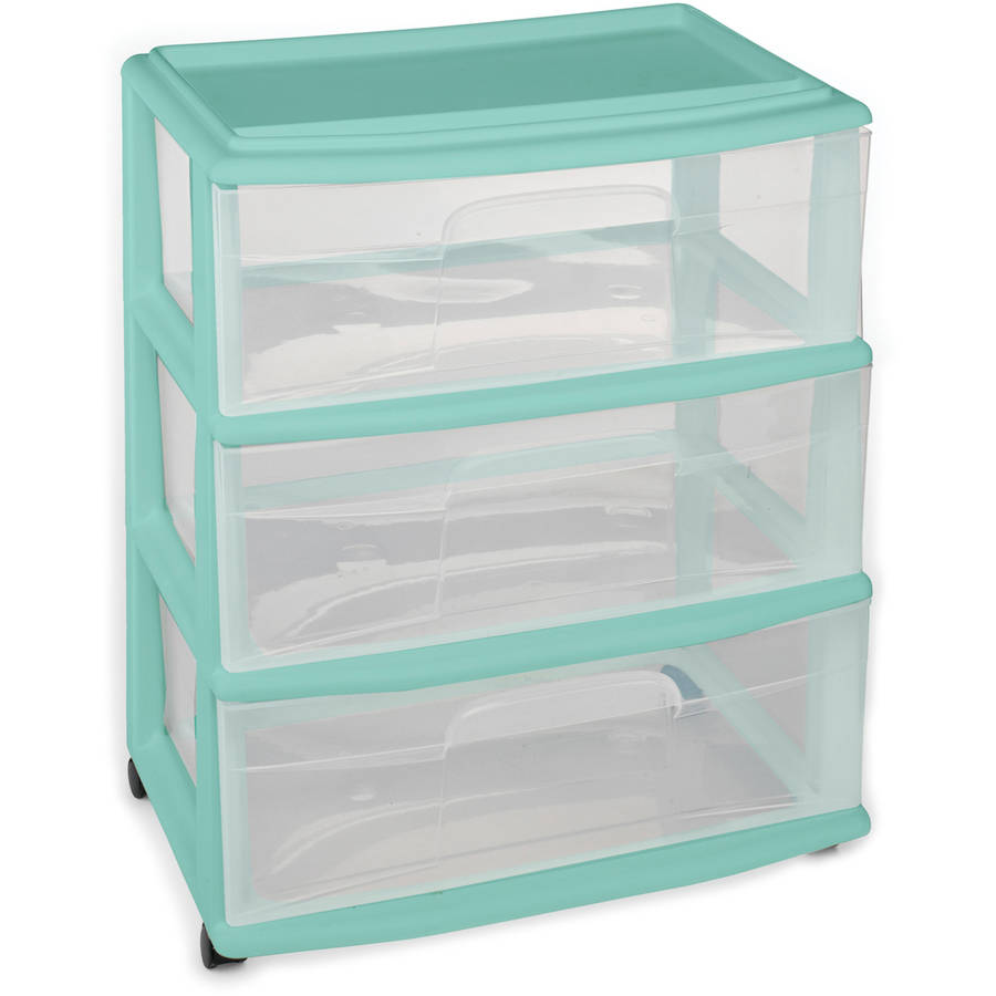 Homz Wide 3-Drawer Cart with Casters, Spearmint