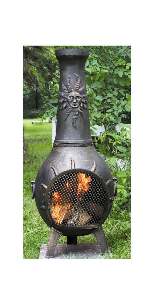 Outdoor Chiminea Fireplace Sun in Gold Accent Finish by The Blue Rooster