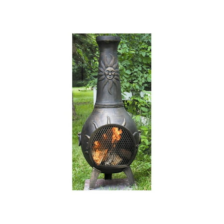 Outdoor Chimenea Fireplace - Sun in Gold Accent -