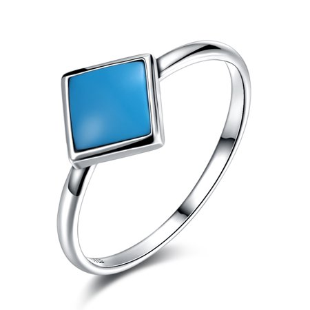Women Simple Fashion Silver Ring Square Turquoise Decoration Ring