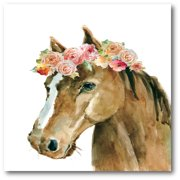 Courtside Market Flower Crown Horse Gallery-Wrapped Canvas Wall Art, 16x16