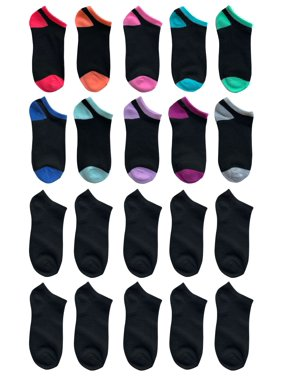 Wonder Nation Girls Socks, 20 Pack No Show Fun Socks (Little Girls & Big Girls)