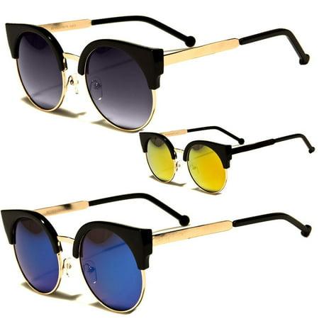 90cdf426f714 Womens Retro Vintage Style Black Metal Half Frame Cat Eye Sunglasses Revo  Shades