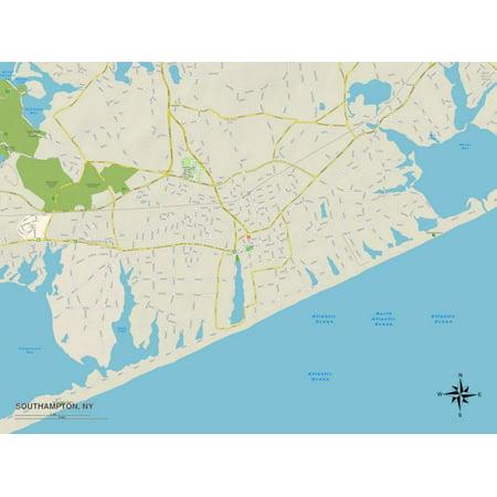 Political Map of Southampton, NY Print Wall (Map Of Soho Ny)
