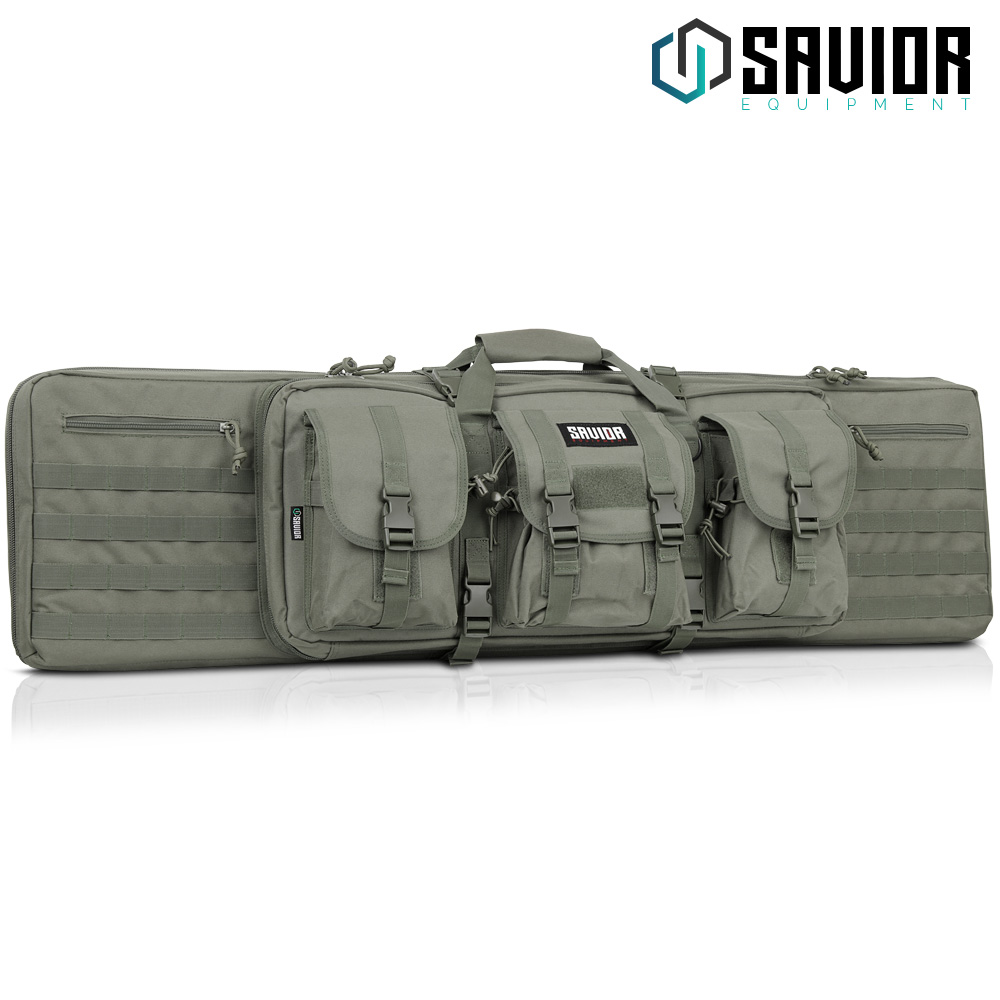 "Savior Equipment American Classic Tactical Double Long Rifle Pistol Gun Bag Firearm Transportation Case w/Backpack - Lockable Compartment, Available Length in 36"" 42"" 46"" 55"""