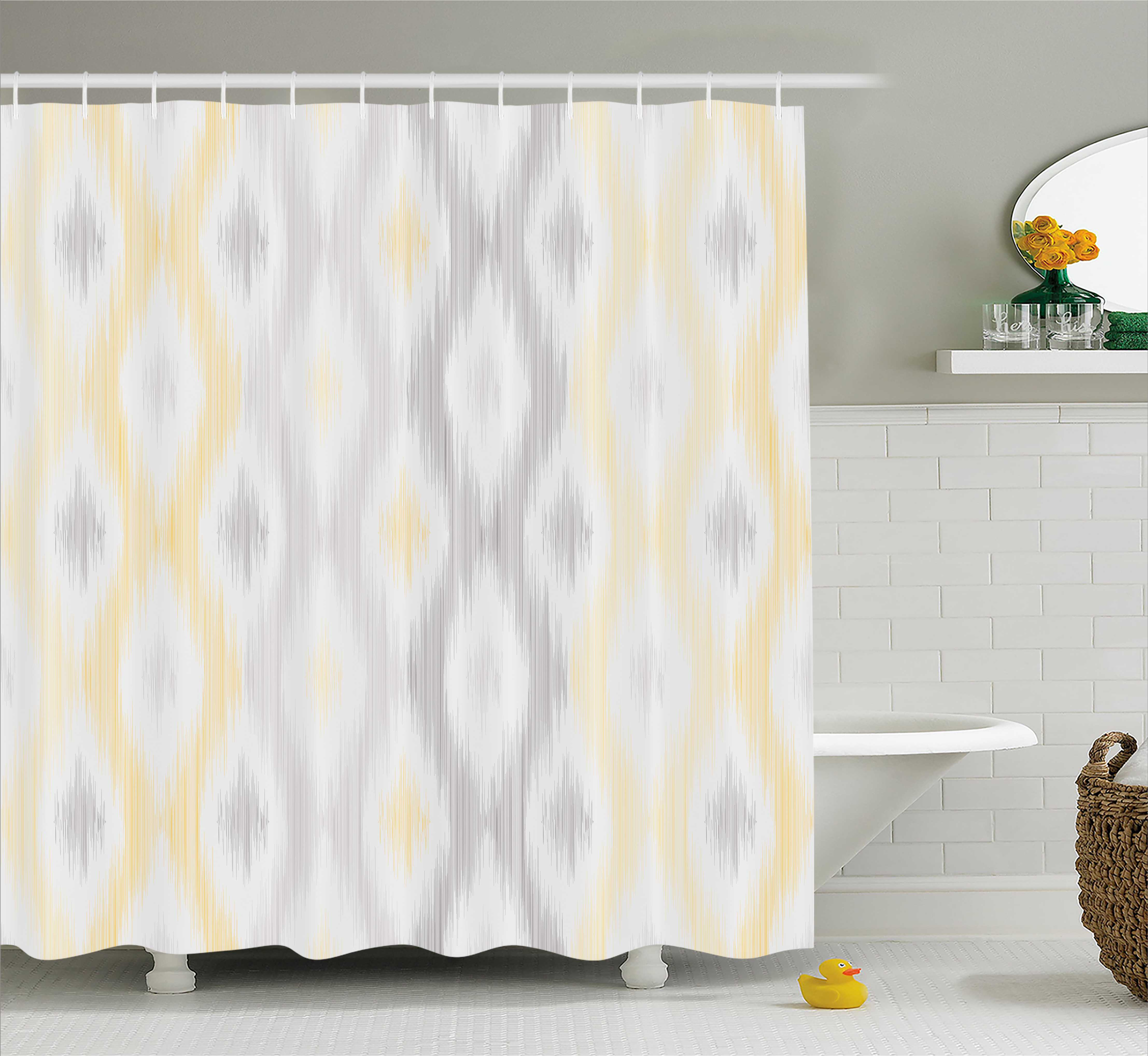 Grey and yellow shower curtain sketchy hand drawn abstract chain like ethnic tribal design fabric bathroom set with hooks pale grey and yellow