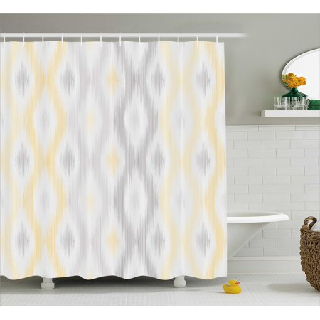 Grey and Yellow Shower Curtain, Sketchy Hand Drawn Abstract Chain Like Ethnic Tribal Design, Fabric Bathroom Set with Hooks, Pale Grey and Yellow, by Ambesonne (Shower Curtain Chains)