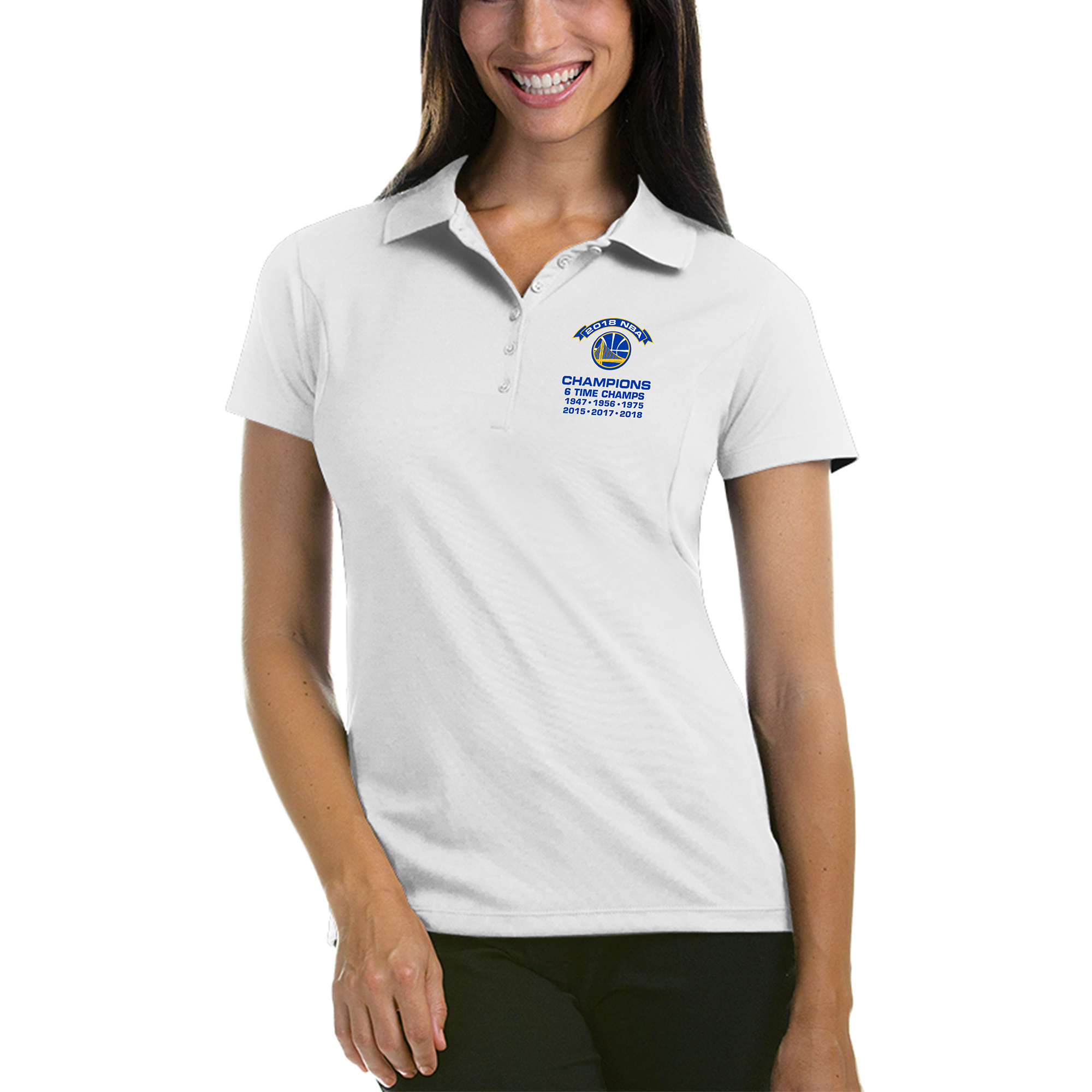 Golden State Warriors Antigua Women's 2018 NBA Finals Champions Pique Xtra-Lite Polo - White