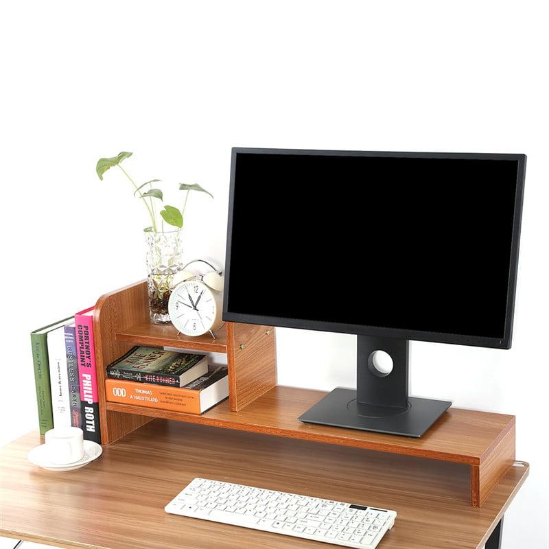 Computer Laptop Monitor Riser Stand Home Office Desktop Wooden Storage Organizer Shelf