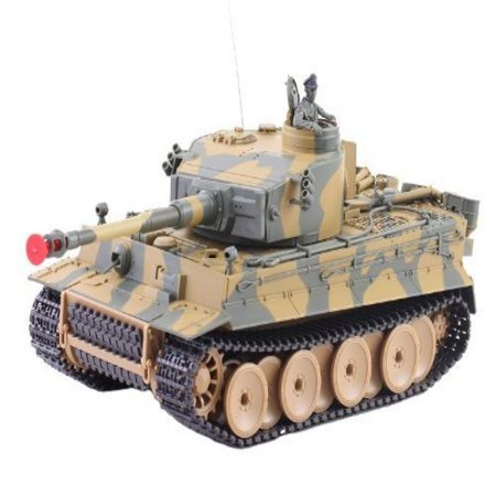 German Tiger I Battle Tank RC Sound 1/24 Model WWII Heavy Panzer with  Airsoft Metal Cannon (Color may vary)