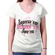 Squeeze Em Screen Save Breast Cancer Awareness Shirt | Pink Junior V-Neck Tee