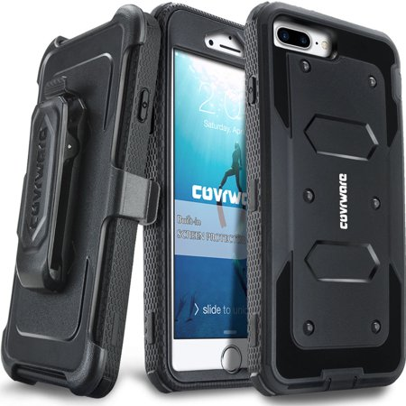 finest selection ed31e 1e8fd COVRWARE iPhone 7 Plus [Aegis Series] with Built-in [Screen Protector]  Heavy Duty Full-Body Rugged Holster Armor Case [Belt Swivel  Clip][Kickstand] ...