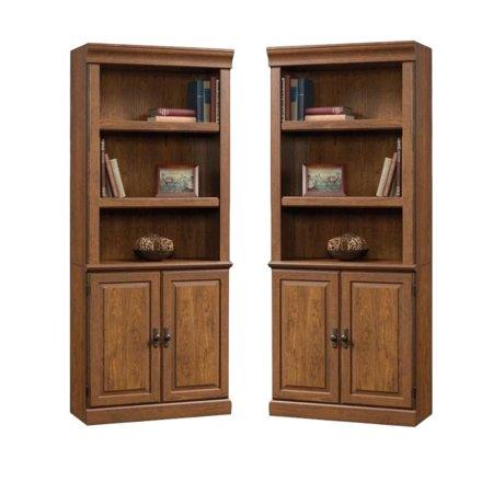 (Set of 2) Wooden 3 Shelf Bookcase in Milled Cherry 3 Piece Cherry Bookcase
