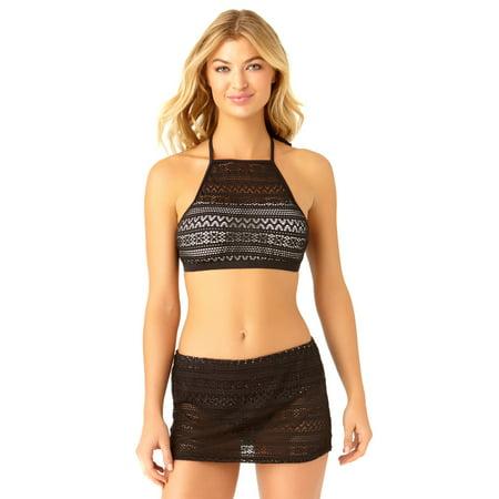 Neck Top Catalina High Bikini Women's Black Crochet Swim 0wON8nvm