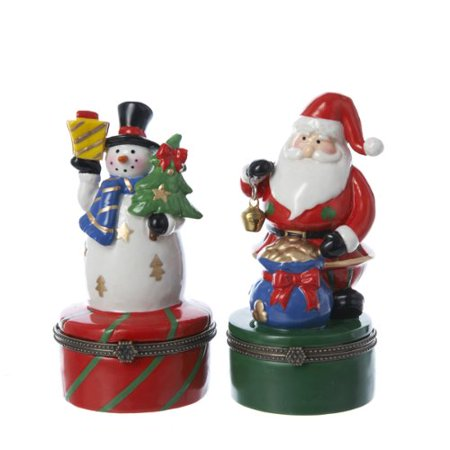 Snowman Hinged Box (Kurt Adler Set of 2 Porcelain Hinged Boxes Santa & Snowman)
