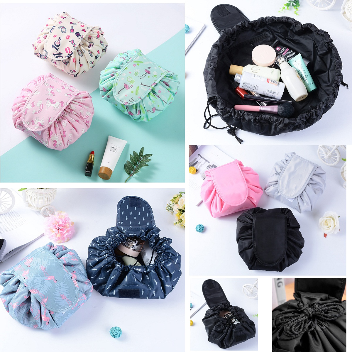 15 Colors Portability Magic Travel Pouch Cosmetic Bag Makeup Bags Storage Pouch Drawstring