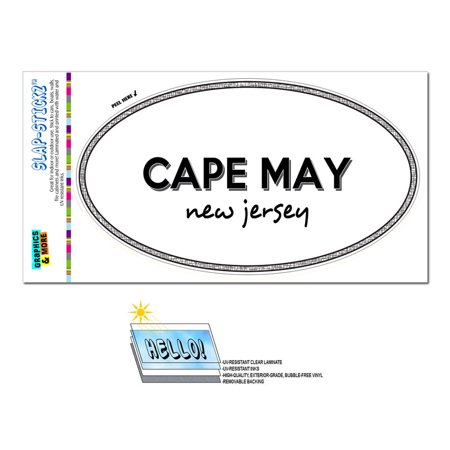 Cape May, NJ - New Jersey - Black and White - City State - Oval Laminated Sticker](Party City In Wayne Nj)