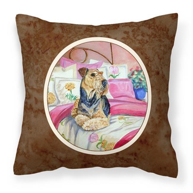 Carolines Treasures 7006PW1414 Airedale Waiting on Mom Fabric Decorative Pillow - image 1 de 1