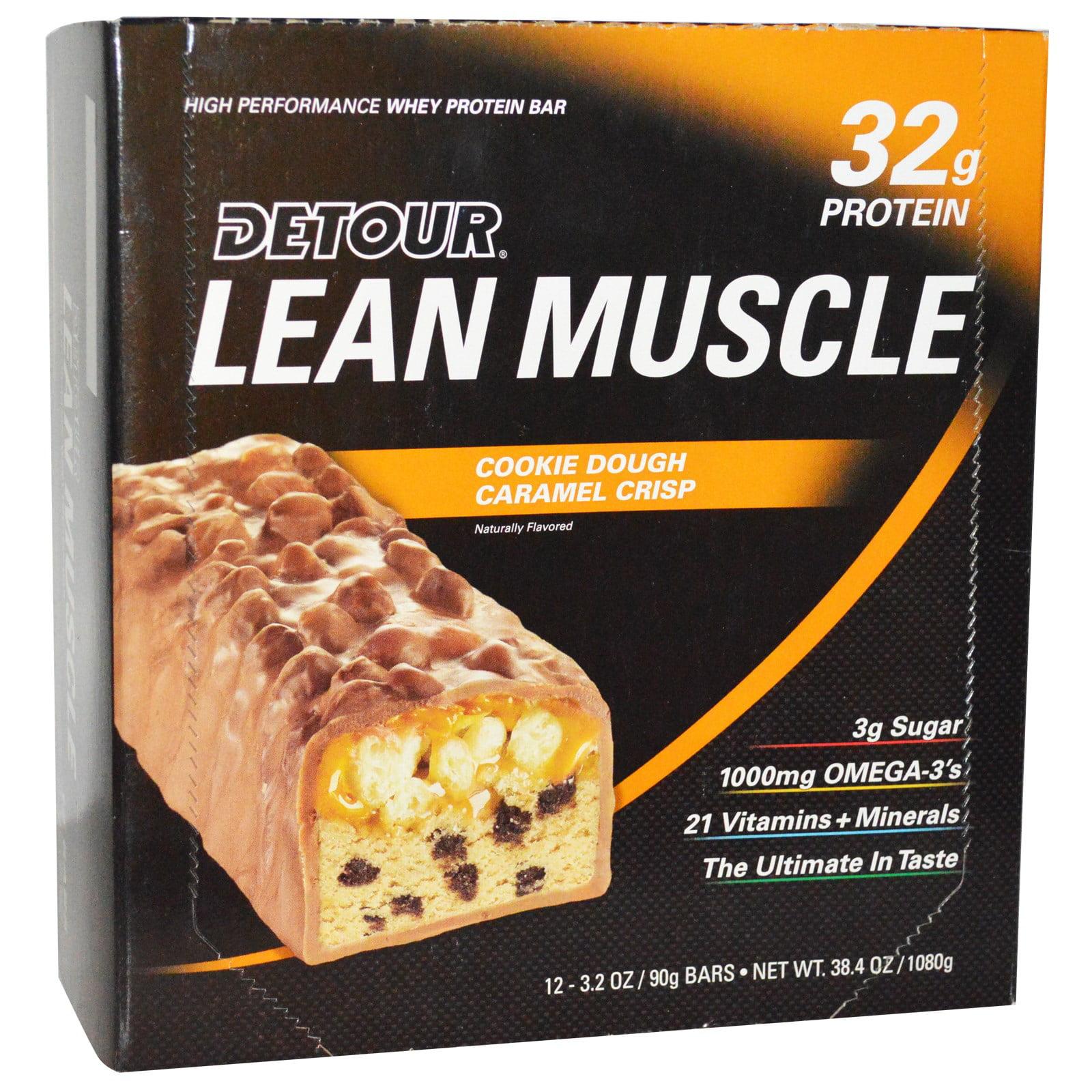 Detour LEAN MUSCLE Cookie Dough Caramel Crisp Protein Bar, 3.2 oz, 12 count by Forward Foods LLC