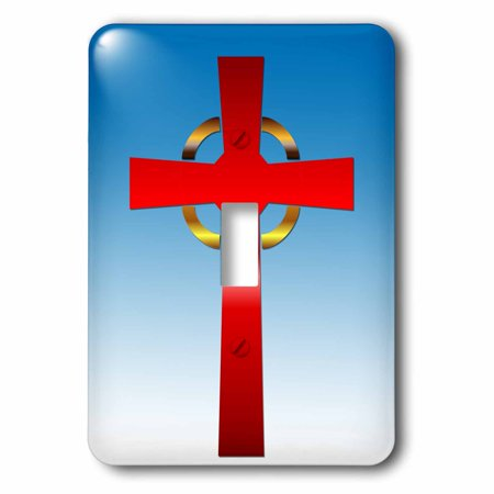 3dRose Scarlet and gold celtic cross on a blue gradient background - Single Toggle Switch (lsp_26787_1) (Scarlet Cross)