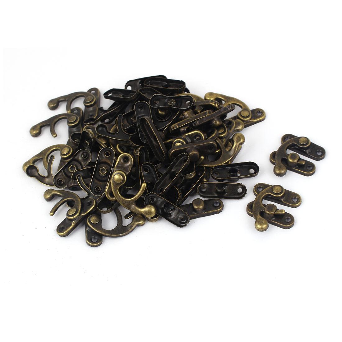 Jewelry Case Gift Box Lock Latch Buckle Clasp Bronze Tone 32x27mm 30pcs - image 3 of 3