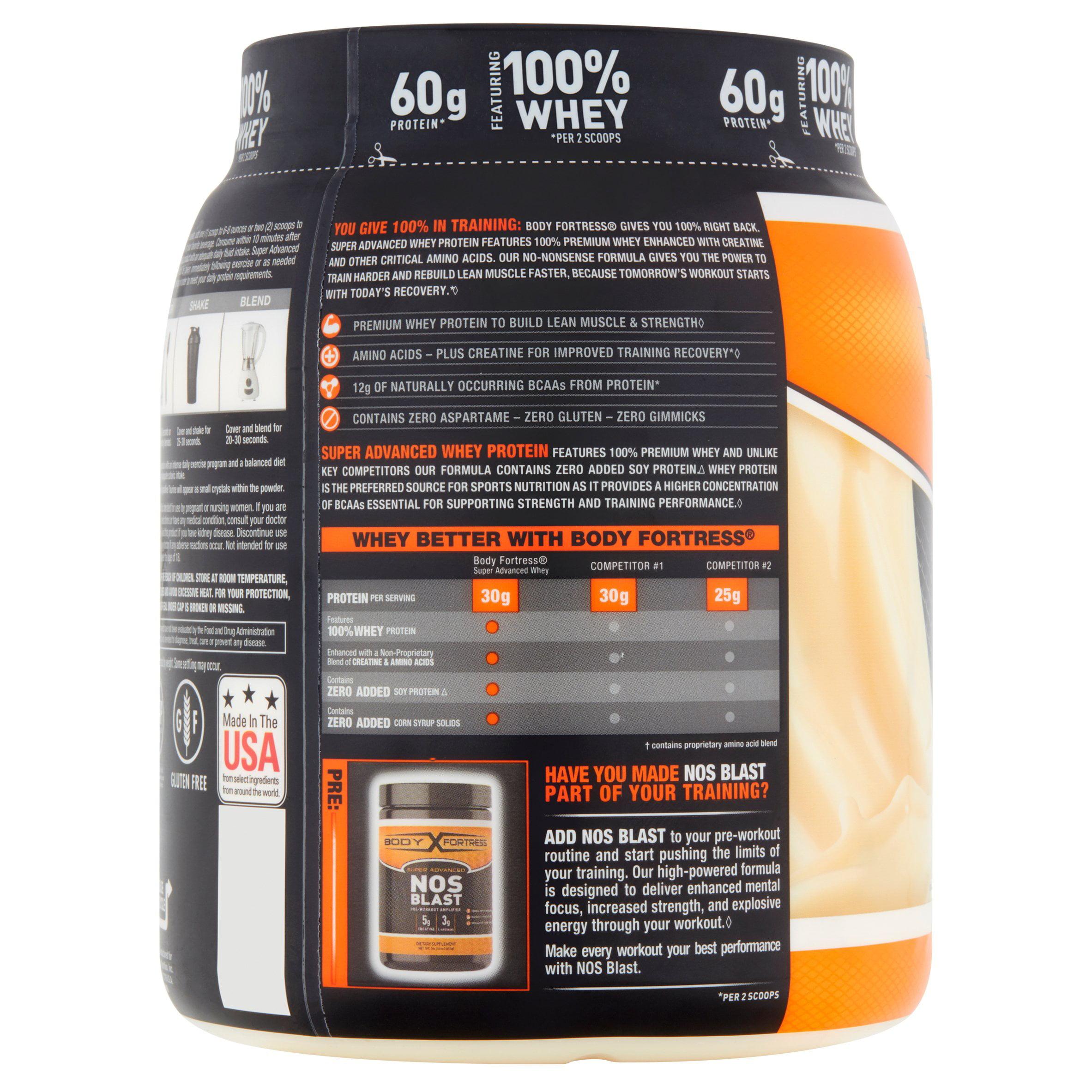 Body Fortress Super Advanced Whey Protein Powder Vanilla 2 Lbs