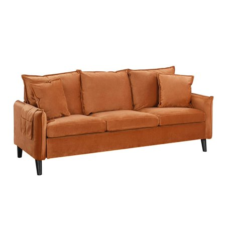 Modern Living Room Brush Microfiber Sofa (Rust) Plush Microfiber Sofa