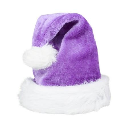 Christmas Purple Plush Faux Fur Trim Santa Hat Costume Accessory - Purple Santa Costume