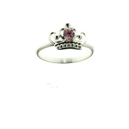 Disney Princess Pink CZ Crown Ring in Sterling Silver, Size 3