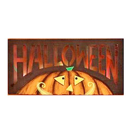 Lights Up Wooden Jack-O-Lantern Halloween Wall Plaque - Halloween Wooden Yard Art