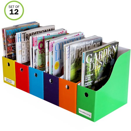 Evelots 12 Magazine/File Holders W/ Adhesive Labels, 6 Different Colors