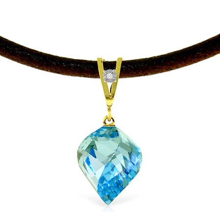 ALARRI 13.91 Carat 14K Solid Gold Leather Necklace Diamond Blue Topaz with 24 Inch Chain Length.