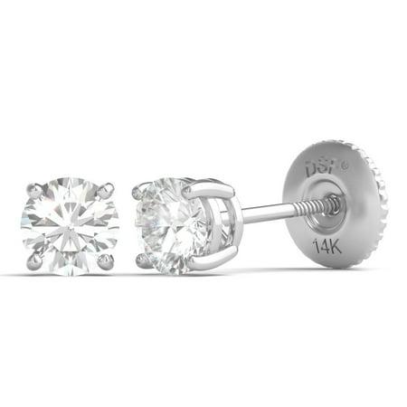 Diamond Studs Forever 14k White Gold Solitaire Stud Earrings 1 2 Ctw Igi Usa Cert Gh I1
