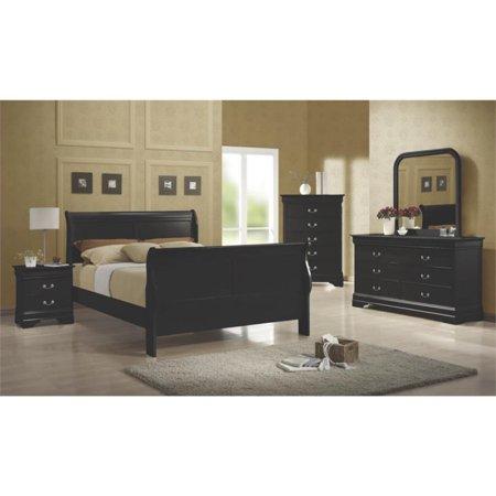Coaster Louis Philippe 4 Piece Full Sleigh Bedroom Set in Black ...