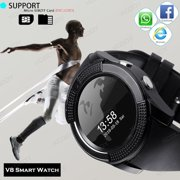 V8 Smart Wrist Watch Bluetooth SIM GSM Card Fitness Pedometer Built-in 0.3 MP Camera For Android Ios-Black
