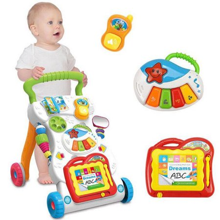 Baby Kids Walker Toys Foldable Toddler Walker Musical Cartoon Toys