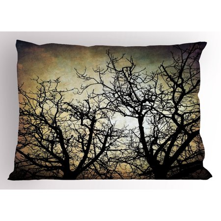 Horror Pillow Sham Scary Twilight Scene with Grunge Tree Branch Silhouette over Dirty Night Sky Image, Decorative Standard Size Printed Pillowcase, 26 X 20 Inches, Sepia Black, by Ambesonne - Scary Silhouette