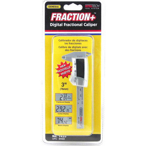 "General Tools 1433 3"" Carbon Fiber Digital Fractional Caliper"