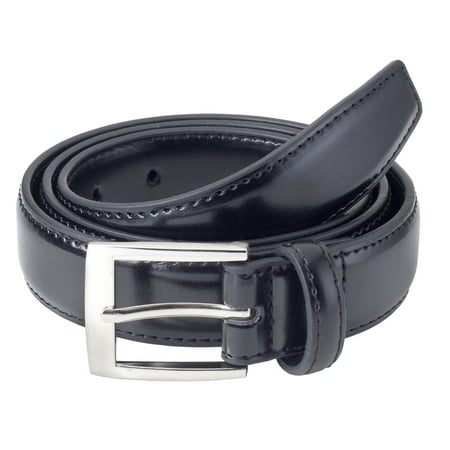Sportoli Mens Classic Stitched Genuine Leather Uniform Belt - Black, Brown, White, Tan, & Navy (Double Stitch Leather Belt)