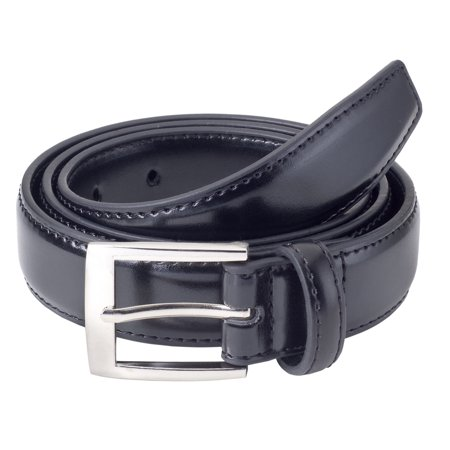 - Sportoli Mens Classic Stitched Genuine Leather Uniform Belt - Black, Brown, White, Tan, & Navy