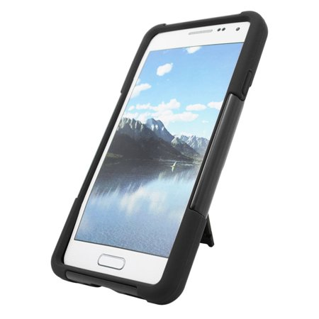 Insten Hard Dual Layer Plastic Silicone Case with stand For Samsung Galaxy Alpha - Black - image 1 of 3