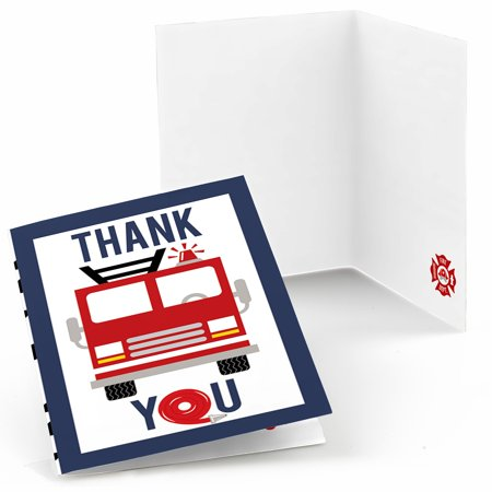 Fired Up Fire Truck - Firefighter Firetruck Baby Shower or Birthday Party Thank You Cards (8 count)](Baby Shower Thank You Gifts)