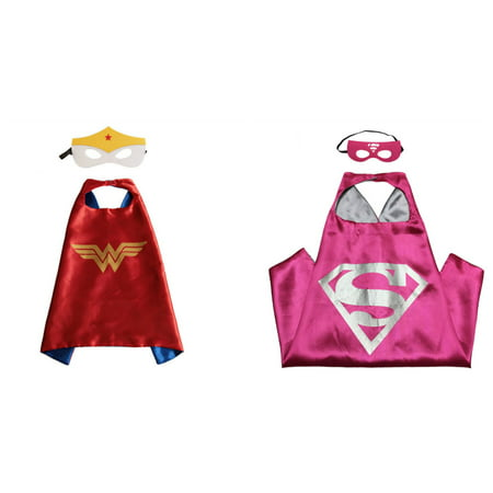 Supergirl & Wonder Woman Costumes - 2 Capes, 2 Masks w/Gift Box by Superheroes - Wonder Twins Halloween Costume