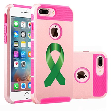 newest 69aba d626b For Apple (iPhone 8 Plus) Shockproof Impact Hard Soft Case Cover Liver  Cancer Color Awareness Ribbon (Rose Gold-Hot Pink)