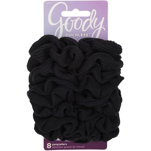 Goody Large Black Scrunchies, 8 count