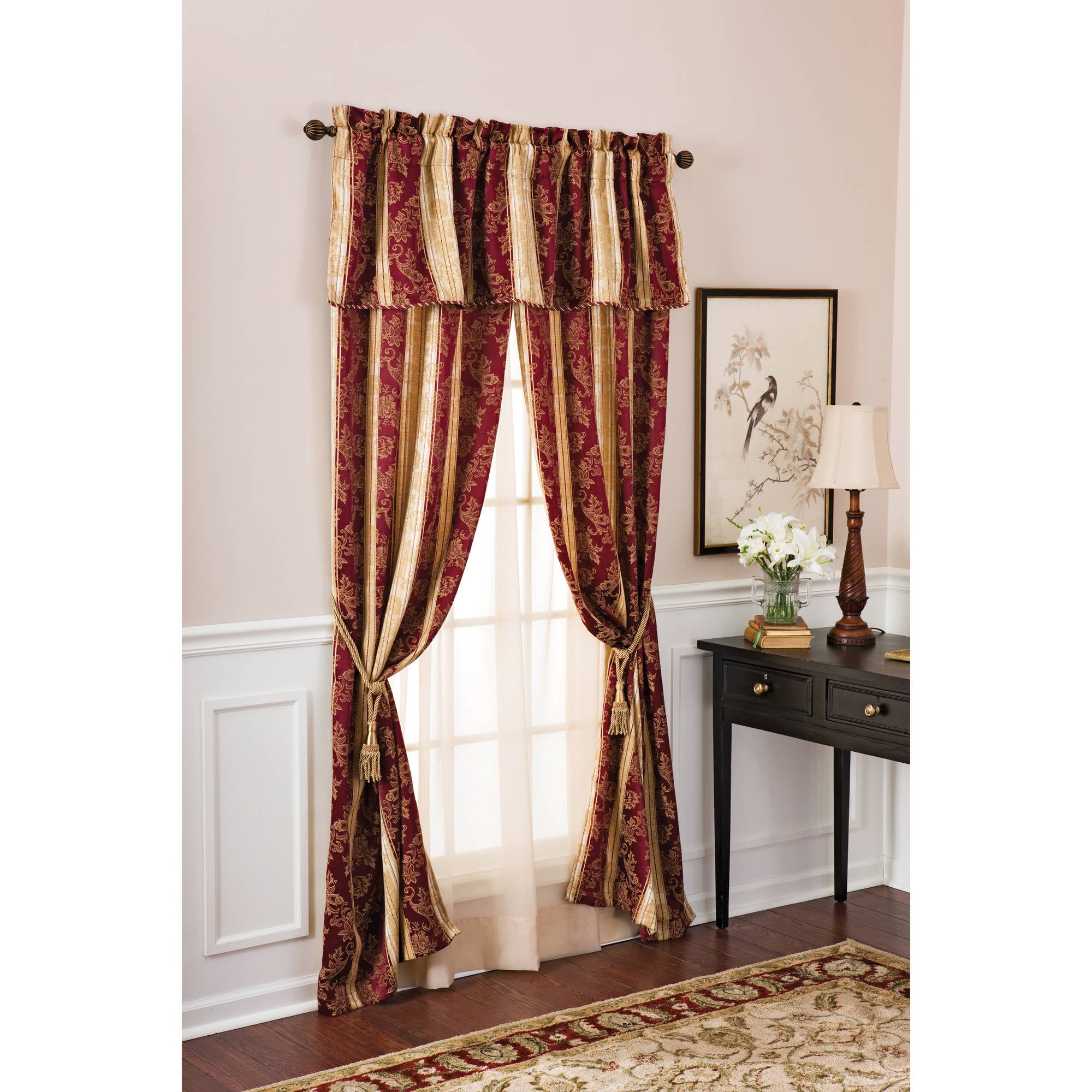 Better Homes And Gardens Osaka Traditional Stripe 5 Piece Window Curtains  Set, Curtain Panels