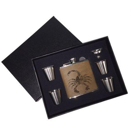 - KuzmarK 6 oz. Leather Flask Set in Black Presentation Box -  Scorpion Weapons