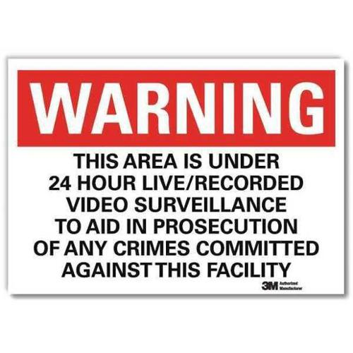 LYLE U6-1236-RD_14X10 Security Sign,Black/White,10 in. H,Eng G1812295